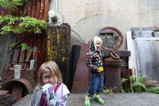 Admiring neighbohood art